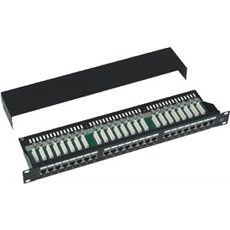 Datacom, 24x RJ45, priamy, CAT5E, STP, čierny, 1U - Patch panel