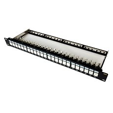 Datacom, 24× RJ45, priamy, CAT6A, STP, čierny, 1U - Patch panel