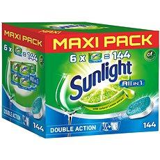 SUNLIGHT All in 1 MEGA PACK Tablety do umývačky riadu 144 ks - Tablety do umývačky