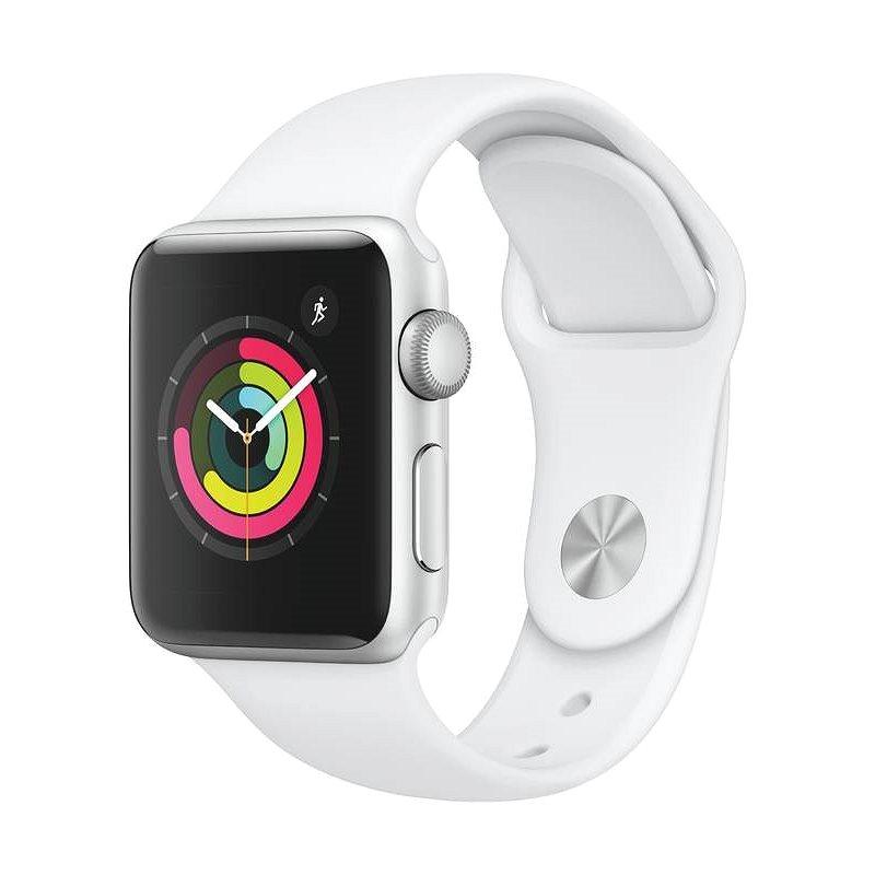 Apple Watch Series 3 38 mm GPS Strieborný hliník s bielym športovým remienkom - Smart hodinky