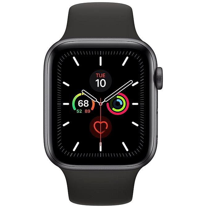 Apple Watch Series 5 44 mm Vesmírne sivý hliník s čiernym športovým remienkom - Smart hodinky