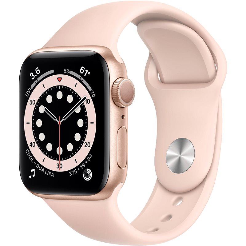 Apple Watch Series 6 40 mm Zlatý hliník s pieskovo ružovým športovým remienkom - Smart hodinky