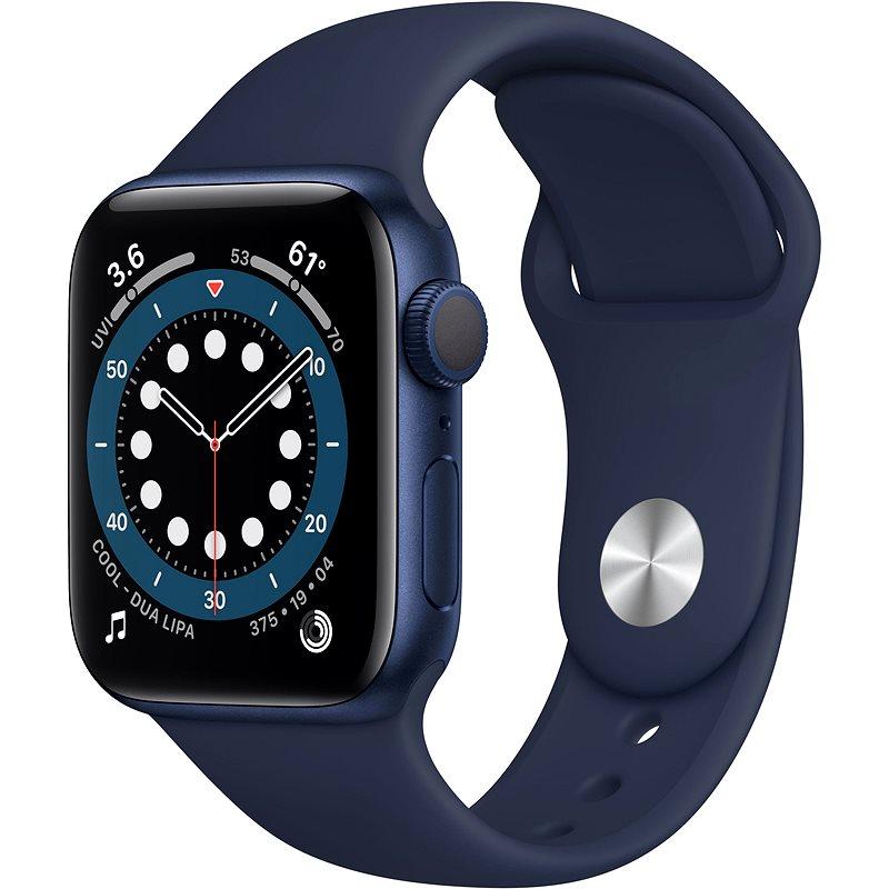 Apple Watch Series 6 44 mm Modrý hliník s námornícky modrým športovým remienkom - Smart hodinky