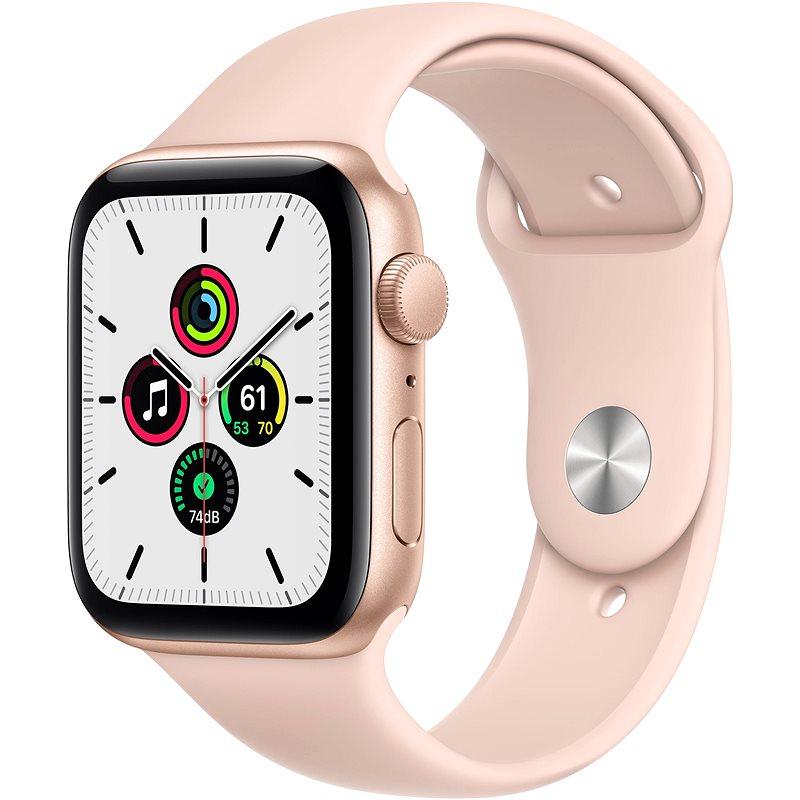 Apple Watch SE 40 mm Zlatý hliník s pieskovo ružovým športovým remienkom - Smart hodinky