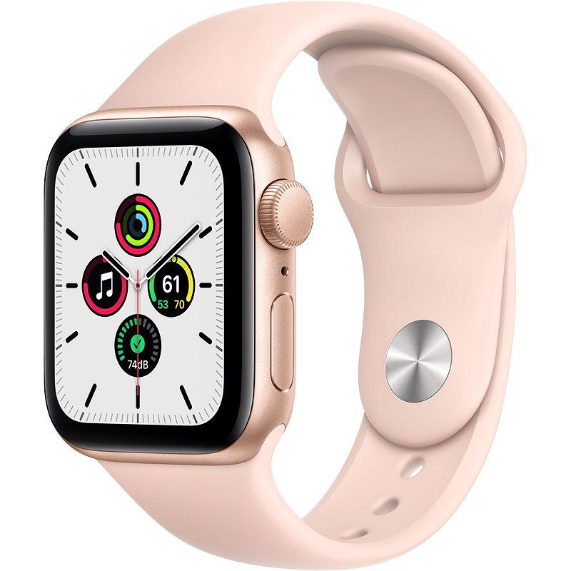 Apple Watch SE 44 mm Zlatý hliník s pieskovo ružovým športovým remienkom - Smart hodinky