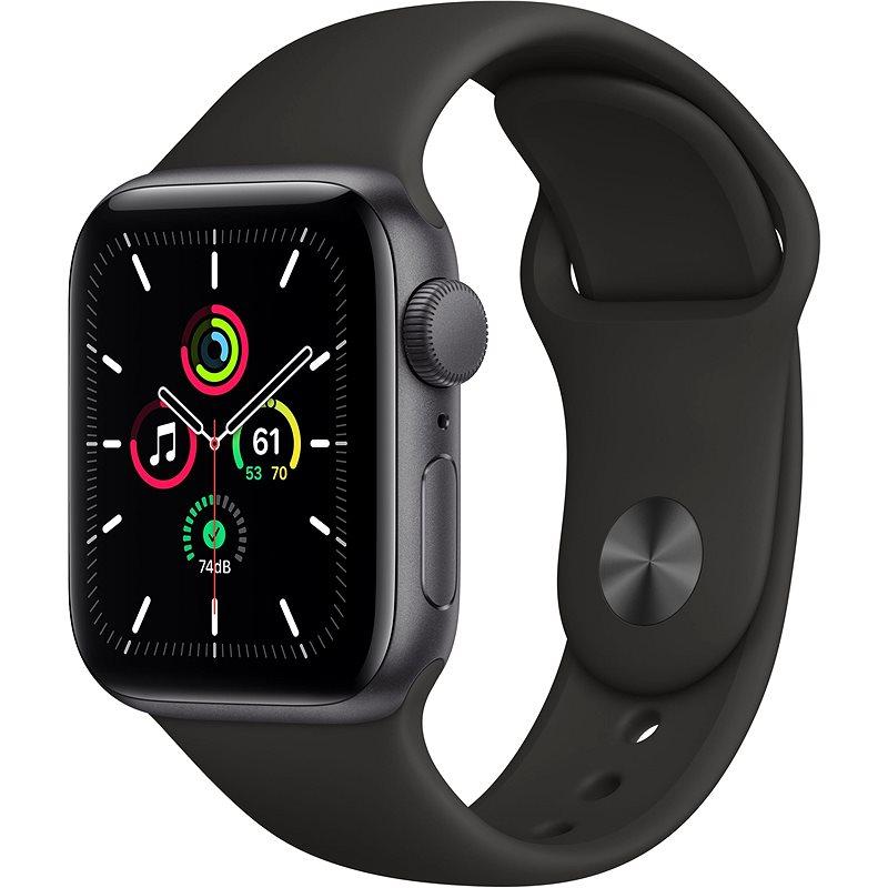 Apple Watch SE 44 mm Vesmírne čierny hliník s čiernym športovým remienkom - Smart hodinky