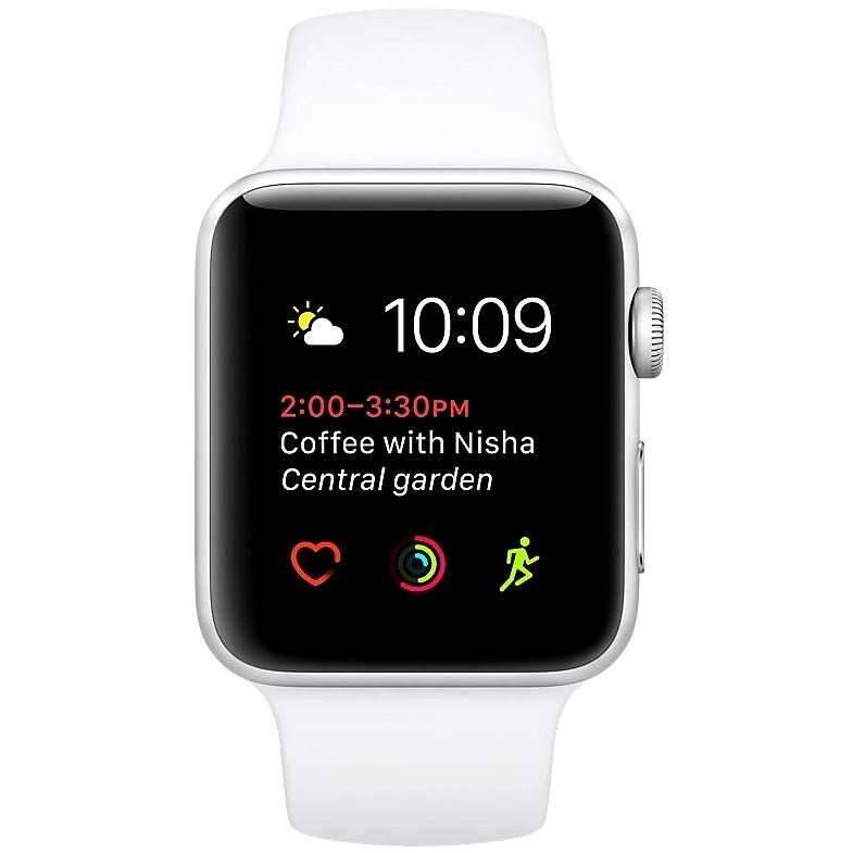 Apple Watch Series 2 42mm Strieborný hliník s bielym športovým popruhom DEMO - Smart hodinky