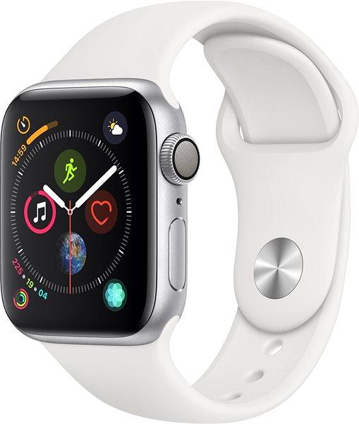 Apple Watch Series 4 40mm Strieborný hliník s bielym športovým remienkom - Smart hodinky