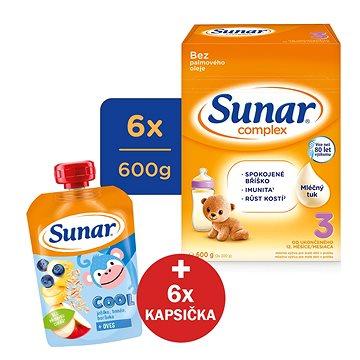 Sunar Complex 3 – 6× 600 g + Sunar do ručičky 100% ovocia - Dojčenské mlieko