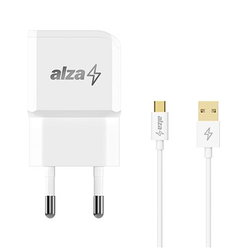 AlzaPower Smart Charger 2.1A + AlzaPower Core Micro USB 1m bílý - Nabíjačka do siete