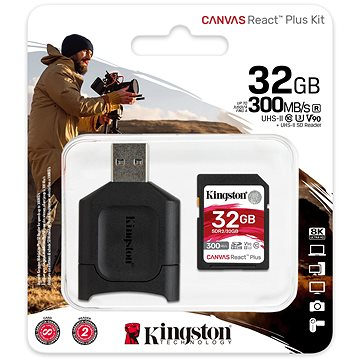 Kingston Canvas React Plus SDHC 32GB + SD adaptér a čítačka kariet - Pamäťová karta