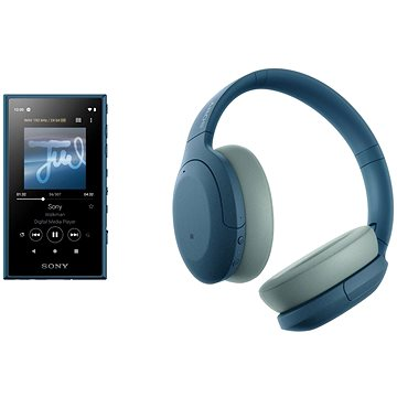 Sony MP4 16 GB NW-A105L modrý + Sony Hi-Res WH-H910N modrá - Set