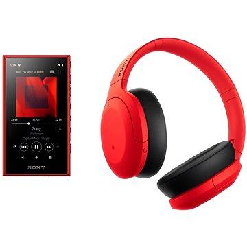 Sony MP4 16GB NW-A105L červený + Sony Hi-Res WH-H910N červeno-čierne - Set