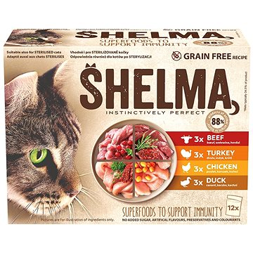 Shelma kapsička pre mačky 4 druhy mäsa 12× 85 g - Kapsička pre mačky