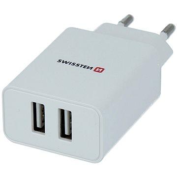 Swissten sieťový adaptér SMART IC 2.1A + kábel micro USB 1,.2 m biely - Nabíjačka do siete