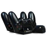 Dobíjacia stanica 4Gamers Twin Charging Dock Black + utierka z mikrovlákna – PS4