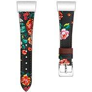 Remienok Eternico Fitbit Charge 3 / 4 Genuine Leather červený kvetinový (Large)