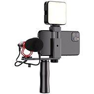 Apexel video rig s mikrofónom a led svetlom - Držiak na mobil