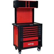 YATO Skrinka dielenská pojazdná 7 zásuviek + pevný chrbát s vrchnou skrinkou, červená - Skriňa