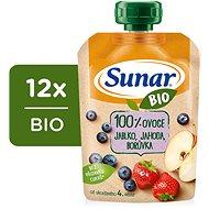 Sunar Organic Apple, Strawberry, Blueberry 12× 100g - Baby Food