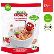Freche Freunde BIO Cereálie – Chrumkavé krúžky – Jablko a jahoda 3× 125 g - Sušienky pre deti