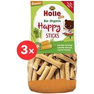 HOLLE Happy tyčinky mrkva fenikel 3 × 100 g - Chrumky pre deti