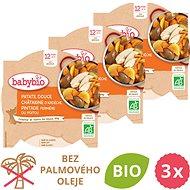 BABYBIO Sladké zemiaky s gaštanovým pyré a farmárskou perličkou 3× 230 g - Príkrm
