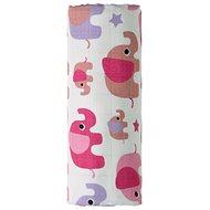 T-tomi BIO Bamboo towel pink elephants - Children's Bath Towel
