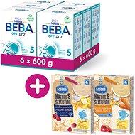 BEBA OPTIPRO 5 (6× 600 g) + Nestlé Nature's Selection 2× Mliečna obilná kaša 250 g (Malina/Banán/Jablko)
