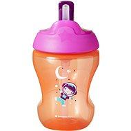 Tommee Tippee Straw Cup netečúci hrnček so slamkou 7 mes.+, Pink, 230 ml - Detský hrnček
