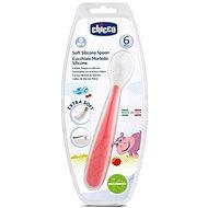 Chicco lyžička silikón Soft 6 mes.+, červená - Detský príbor