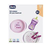 Chicco jedálenská sada, taniere, príbory, pohár, 12 mes.+, ružová