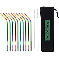 ECOCARE Kovové slamky Set Rainbow Bent 10 ks