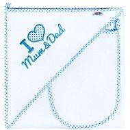 New Baby Luxusná detská osuška I Love Mum and Dad 90 × 90 cm bielo-modrá - Osuška pre bábätká