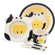 Zopa Bambusová súprava riadu – Cow - Detská jedálenská súprava