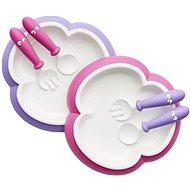 Babybjörn Tanierik s príborom 2 ks ružová/fialová - Detská jedálenská súprava