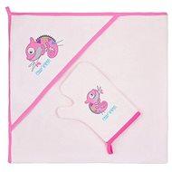 Bobas Fashion Detská osuška s rukavicou Chameleon – ružová - Osuška pre bábätká