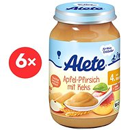 ALETE BIO Príkrm Jablko s broskyňou a sušienkami 6× 190 g - Príkrm