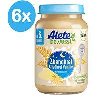 ALETE BIO Kaša večerná semolinová s vanilkovou príchuťou 6× 190 g - Mliečna kaša