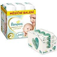 PAMPERS Premium Care veľkosť 2 Mini (240 ks) + PAMPERS Aqua Pure vlhčené obrúsky (9 × 48 ks)