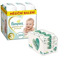 PAMPERS Premium Care veľkosť 3 Midi (204 ks) + PAMPERS Aqua Pure vlhčené obrúsky (9 × 48 ks)