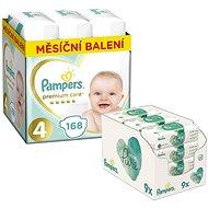 PAMPERS Premium Care veľkosť 4 Maxi (168 ks) + PAMPERS Aqua Pure vlhčené obrúsky (9 × 48 ks)