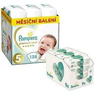 PAMPERS Premium Care veľkosť 5 Junior (136 ks) + PAMPERS Aqua Pure vlhčené obrúsky (9 × 48 ks)