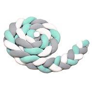 T-tomi Pletený mantinel 360 cm, white + grey + mint - Mantinel do postielky