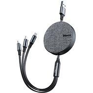 Dátový kábel Baseus Fabric 3-in-1 Flexible Cable USB-C + Lightning + micro USB 1,2 m grey