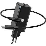 Baseus GaN Dual USB-C Quick Travel Charger 45 W + Type-C (USB-C) Cable 60 W 1 m Black - Nabíjačka do siete