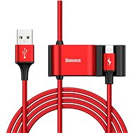 Baseus Special Lightning Data Cable + 2× USB for Backseat of Car Red