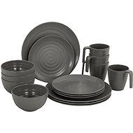 Bo-Camp Tableware 100 % Melamine 16 Parts Stone Grey