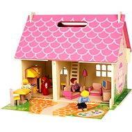 Bigjigs Prenosný drevený domček pre bábiky - Doplnok pre bábiky
