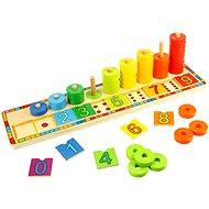 Bigjigs Drevená motorická doska – Nasadzovanie s číslami - Vzdelávacia hračka